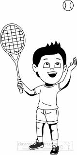 Sports Clipart black white boy playing tennis clipart dark tone