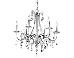 Contemporary 6 Light Chandelier With Crystal Chrome