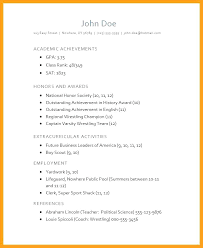 Resume Examples High School Student Sample For College Of