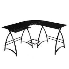 walker edison l shaped black glass computer desk home