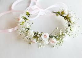 Baby s Breath & Rose Crown Flower Girl Crown Toddler Crown Girls