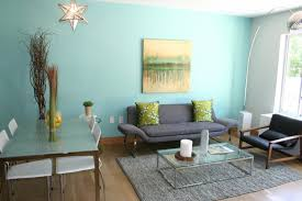 Rustic Small Apartement Interior With Blue Painted Wall And