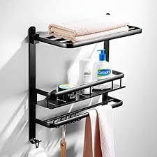 dfly schwarz faltbarer handtuchhalter mit haken modernes