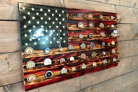Challenge Coin Holder Rustic Glory American Wood Flag