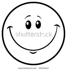 Black And White Happy Cartoon Smiley Face Emoji Vector Illustration With Yellow Background