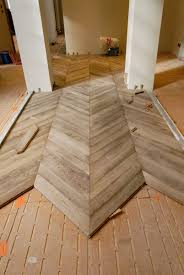 Installation Of The Parquet Floor Chevron In Oak Gray Leached
