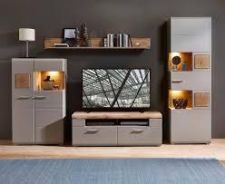 plus ii wohnwand anbauwand wohnzimmer inkl led beleuchtung grau braun abs eiche altholz