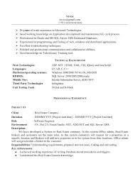 Sample Resume Of Net Developer Junior