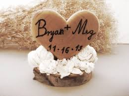 Rustic Wedding Cake Topper Wooden Heart Winter Country Fall Weddings
