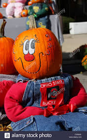 Ohio State Pumpkin Designs by Pumpkin Head Character Dressed With Ohio State Buckeyes Emblem