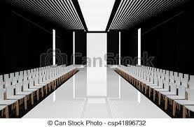 3D Illustration Of Fashion Empty Runway With Spot Light Before A Show
