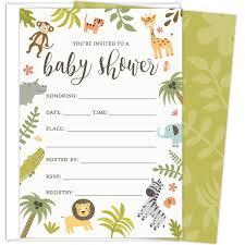 Amazoncom Safari Baby Shower Invitations Set Of 25 FillIn Style