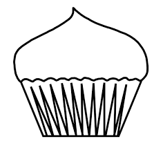 black and white blank cupcake outline 600x543