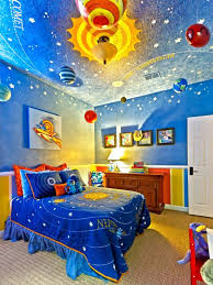 Blue Space Themed Kids Bedroom Decor With And Yellow Planets Hanging From Ceiling Brilliant Wall Art
