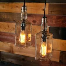 Bottle Pendant Light Rustic Pulley With Whiskey Bottles Lighting Wine