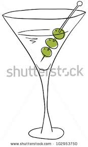 Vector Glass With Martini On A White Background