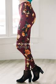 wine rust floral leggings affordable trendy and modest clothing