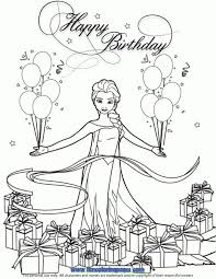 Frozen Elsa Coloring Pages Happy Birthday Sketch Page