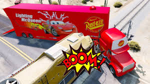 Mack Truck Hauler In Trouble W Train - Disney Cars Lightning McQueen ...