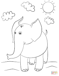 Cartoon Elephant Coloring Pages Elephants Free Drawing