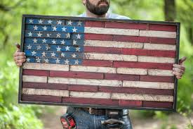 Items Similar To Wooden American Flag Reclaimed Lumber Home Decor Wall Hanging Stars And Strips Sign Unique Framed