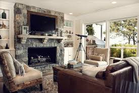 Simple Modern Wall Face To The Brown Amazing Rustic Living Room With Tv Of