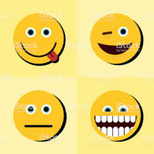 Emoji Emoticons Icons On Yellow Background With Black Shadow Royalty Free