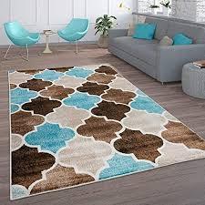 paco home teppich wohnzimmer vintage kurzflor marokkanische muster raute türkis braun grösse 160x220 cm farbe beige