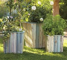 Reclaimed Wood Barrel Planters
