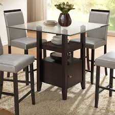 Home Source Stukes Pub Table With Storage Solutions, Brown ...