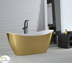 freistehende badewanne 160 x 70 cm ablauf click clack mineralguss viya design gold luxus