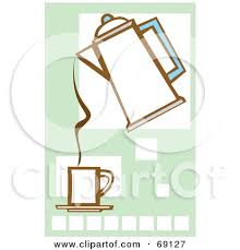 Royalty Free RF Clipart Illustration Of A Coffee Percolator Pouring Into Cup Over Squares By Xunantunich