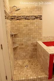 master bathroom week 6 tiling shower floor curb and knee wall