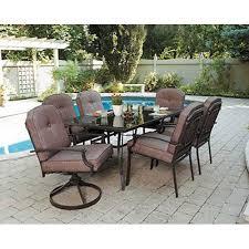 Amazon Com 7 Piece Patio Dining Set Seats 6 Enjoy The Outdoors Outdoor Sets