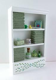 melody puppenhaus miniatur badezimmer regal grün handtücher zubehör