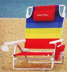 nautica beach chair w side cooler pouch cup holders mint and
