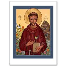 st francis of assisi icon greeting card