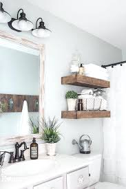 White Bathroom Shelves View In Gallery Modern Farmhouse With Rustic Wood Shelving Above Toilet