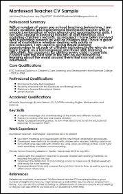 Montessori Teacher CV Sample