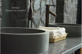 vasque de salle de bain ronde en naturelle basalte rondo