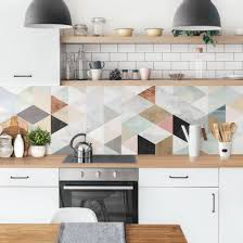 küchenrückwand aquarell mosaik mit dreiecken i küche