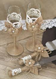 Rustic Wedding Set Burlap Lace Toasting Flutes Cake Cutting Champagne Glasses Serving Bride And Groom