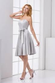 strapless silver satin knee length a line bridesmaid dress 1 1