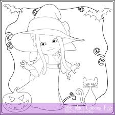 Little Witch Coloring Page For Adults Instant Download Book Halloween Sheet