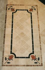 Floor Pueblo Travertine Rectangular Border Stem Noce Rose Rojo Allicante Leaves Inside Hulian Jade Aka Empress Green