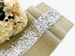 Luxury Sequin Silver Table Runner Wedding Decor Glamour Overlay Rustic Burlap Handmade In The USA