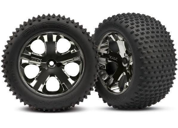 Traxxas 3770A Black Chrome Rims Alias Rear Tires - 2.8""