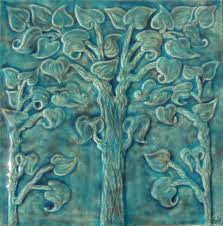 3x3 Blue Ceramic Tile by Plant And Flower Tiles