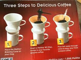 Melitta Coffee Cone Pour Over Brewer Brewing Steps