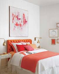 100 Decorated Wall Pretty Bedroom With Abstract Arts And Orange Accents